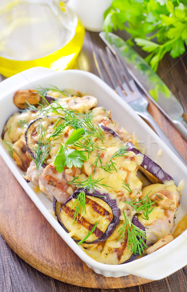 eggplants with meat and cheese Stock photo © tycoon