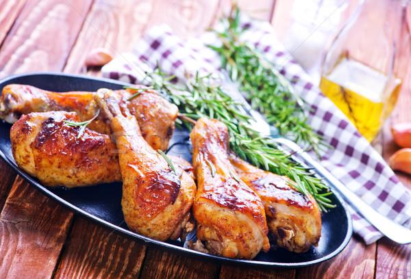 жареная курица ног металл таблице продовольствие Сток-фото © tycoon
