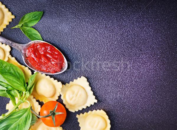 ラビオリ 生 トマト パスタ 新鮮な バジル ストックフォト © tycoon