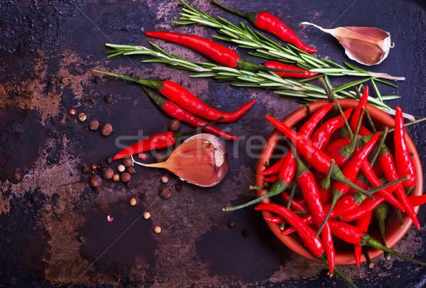 Tempero vermelho quente pimenta sal Foto stock © tycoon