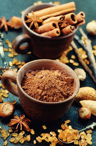 Polvere aroma Spice tavola cioccolato sfondo Foto d'archivio © tycoon