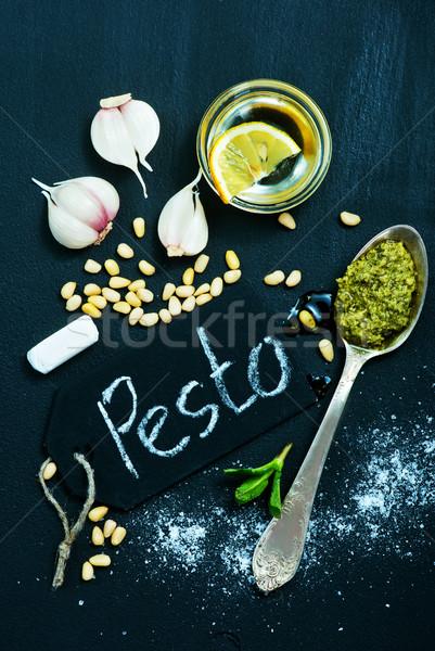 Pesto taze çanak tablo sağlık mutfak Stok fotoğraf © tycoon