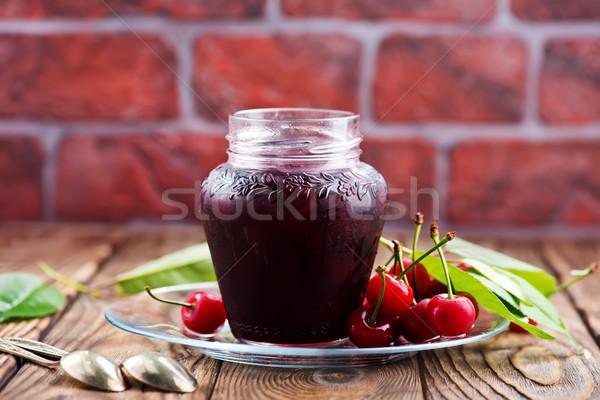 Cseresznye lekvár üveg piros reggeli tábla Stock fotó © tycoon