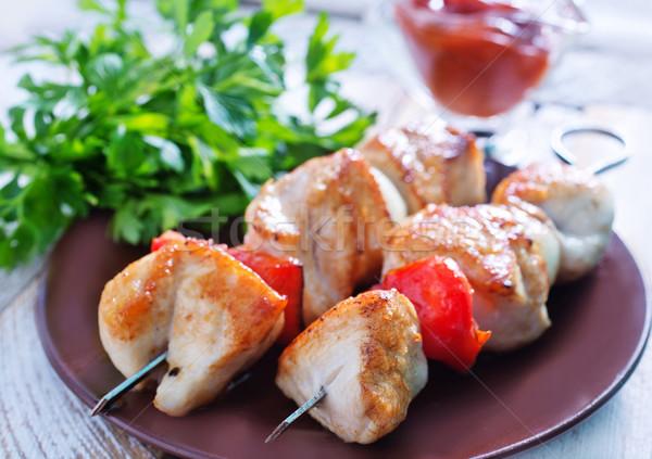 Háttér étterem zöld tányér fehér főzés Stock fotó © tycoon