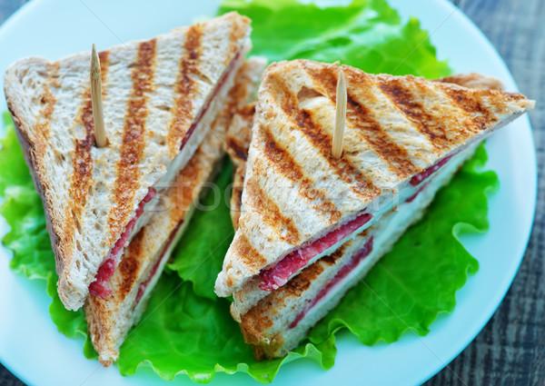 Бутерброды пластина таблице рыбы хлеб сыра Сток-фото © tycoon