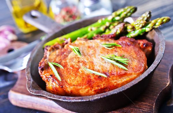 Sült hús spárga serpenyő étel fa Stock fotó © tycoon