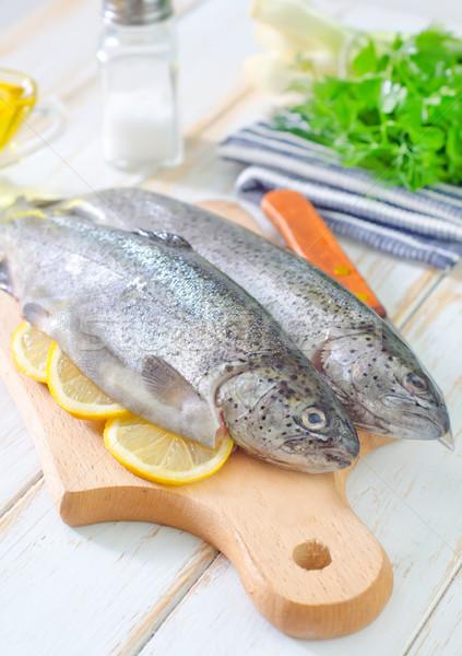Fisch Essen Auge Blatt Fleisch Stock foto © tycoon