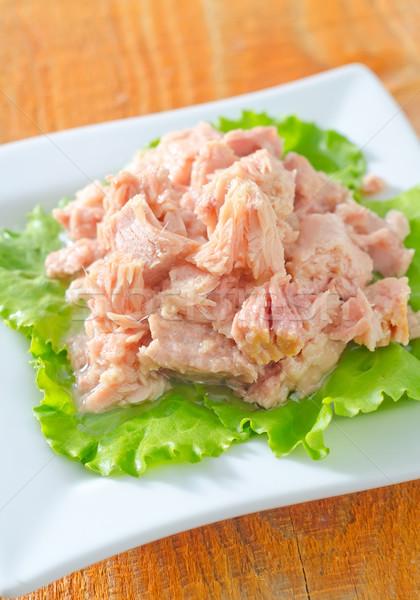 Saláta tonhal saláta hal zöld vacsora kövér Stock fotó © tycoon