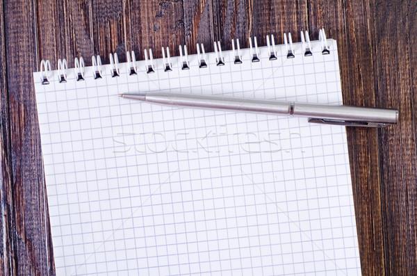 Notepad hout ontwerp potlood studie witte Stockfoto © tycoon