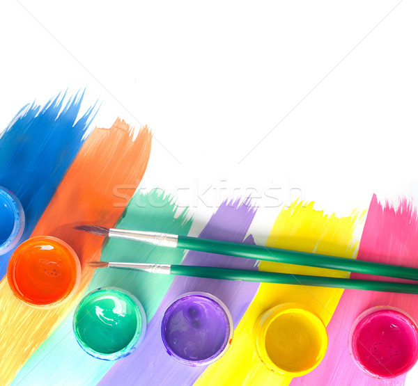 Color paints and brushes isolation on white background Stock photo © tycoon