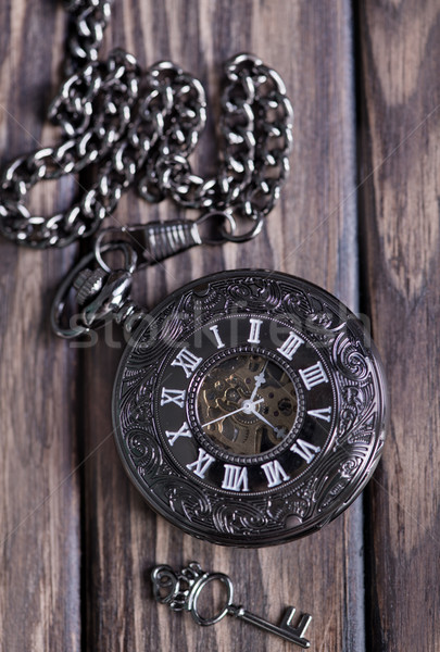 Foto stock: Vintage · relógio · de · bolso · hour · glass · areia · cronômetro · símbolos