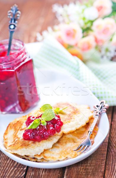 Stok fotoğraf: Krep · plaka · tatlı · reçel · çiçek · gıda