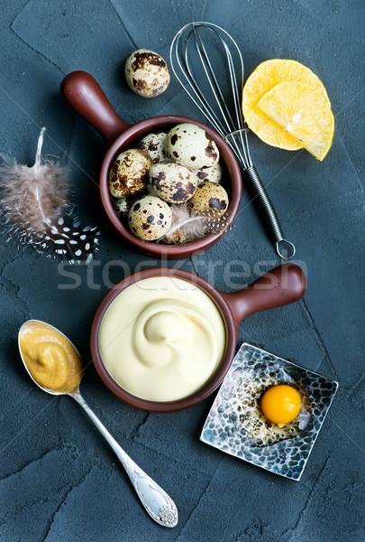 マヨネーズ 新鮮な ソース ボウル 表 卵 ストックフォト © tycoon