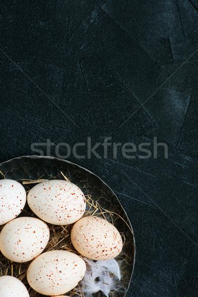 Stok fotoğraf: Tavuk · yumurta · plaka · tablo · doğa