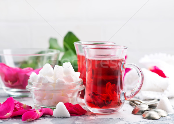 tea with rose Stock photo © tycoon