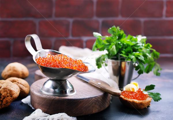 Vermelho caviar pão manteiga tabela cozinha Foto stock © tycoon