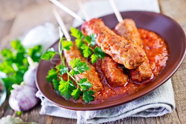 Stock fotó: Paradicsomszósz · tányér · étel · levél · piros · kövér