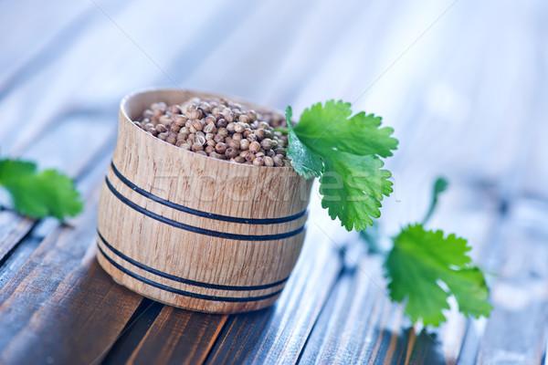Koriander tál asztal fa természet csoport Stock fotó © tycoon