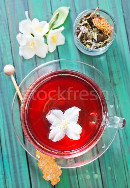 Yasemin çay çiçekler ahşap masa çiçek ahşap Stok fotoğraf © tycoon