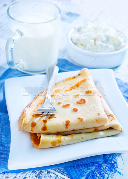 パンケーキ 食品 葉 フルーツ ドリンク チーズ ストックフォト © tycoon