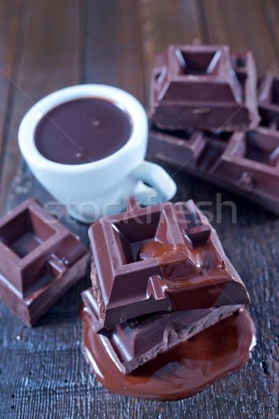 ストックフォト: チョコレート · カップ · 木製のテーブル · 食品 · 背景 · キャンディ