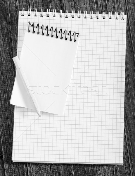 Bloco de notas madeira projeto lápis estudar branco Foto stock © tycoon