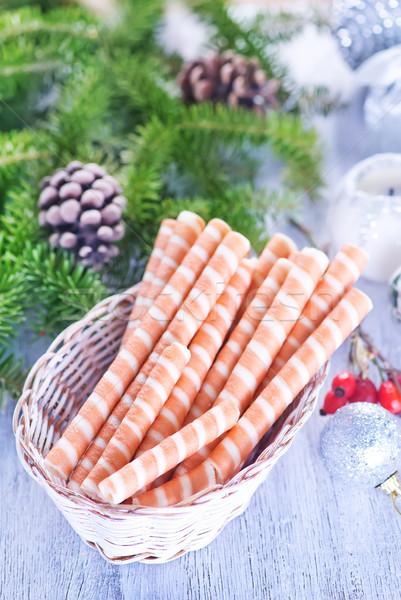 ワッフル クリスマス 装飾 表 テクスチャ ストックフォト © tycoon