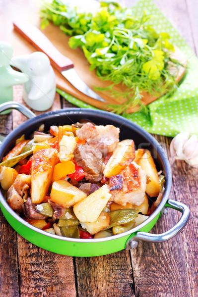 ストックフォト: フライド · 肉 · 野菜 · ボウル · オレンジ · レストラン