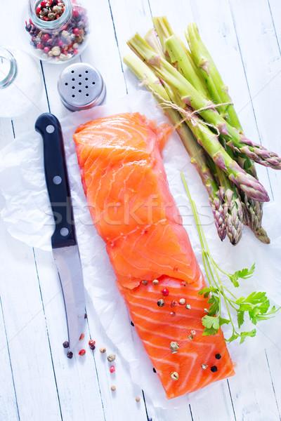 Lazac nyers citrom só asztal étel Stock fotó © tycoon