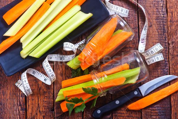 Zeller sárgarépa tányér asztal étel zöld Stock fotó © tycoon