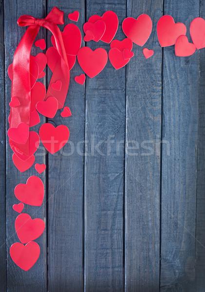 ストックフォト: 赤 · 心 · 紙 · 木板 · 中心 · ロック