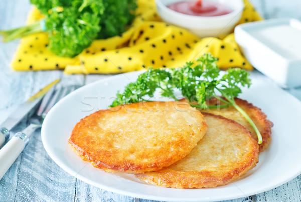 Stockfoto: Aardappel · pannenkoeken · plaat · tabel · voedsel · keuken
