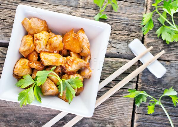 フライド 肉 ボウル 表 鶏 ディナー ストックフォト © tycoon
