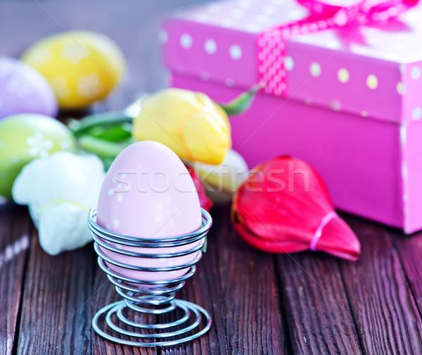 Stock fotó: Húsvéti · tojások · virágok · húsvét · asztal · tavasz · étel