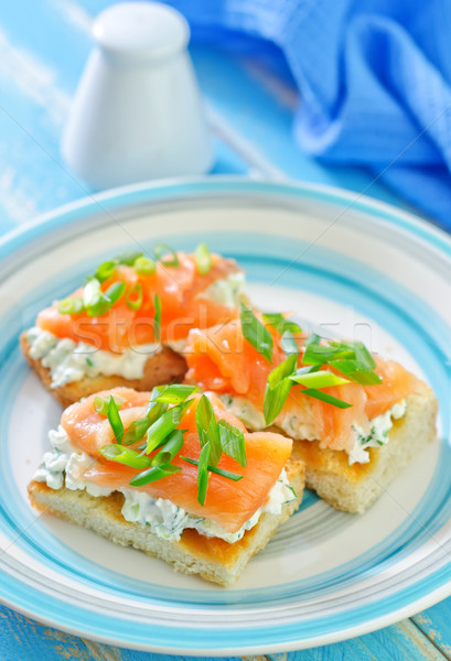 canape with salmon Stock photo © tycoon