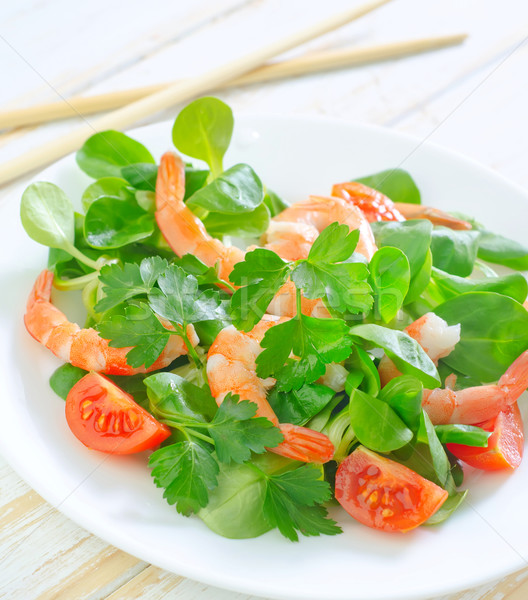 Stock photo: salad with shrimps