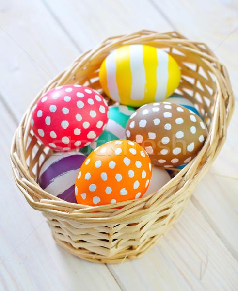 Easter eggs fiori legno uovo bianco vacanze Foto d'archivio © tycoon