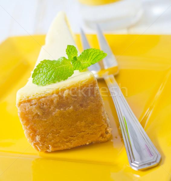Sernik tle restauracji obiedzie tablicy widelec Zdjęcia stock © tycoon