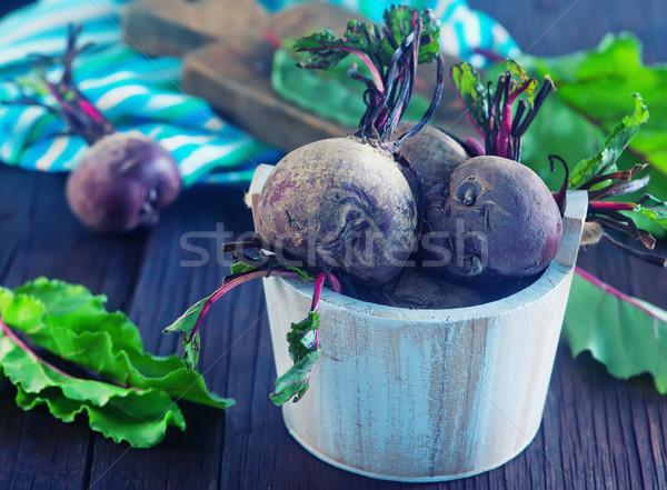 Crudo cuchillo mesa de madera alimentos cama ensalada Foto stock © tycoon