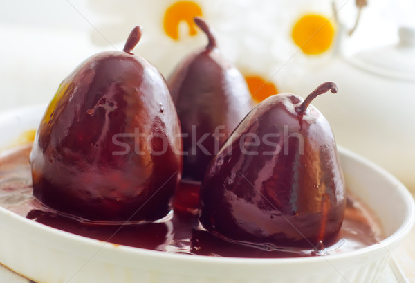 Pear with chocolate, sweet food Stock photo © tycoon