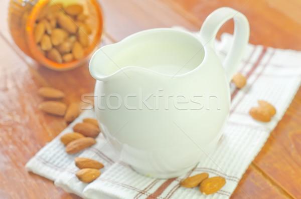 Almendra leche alimentos beber maíz comer Foto stock © tycoon