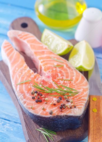 Somon balık yaprak turuncu restoran yeşil Stok fotoğraf © tycoon
