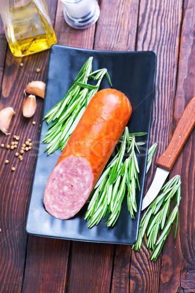 サラミ スパイス 黒 プレート 紙 食品 ストックフォト © tycoon