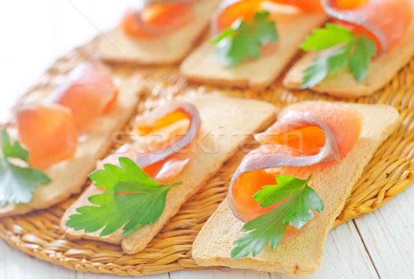 Salmón perejil alimentos salud naranja pan Foto stock © tycoon