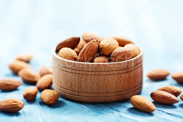 Amandel tabel drogen noten houten voedsel Stockfoto © tycoon