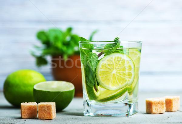 Mojito friss üveg asztal étel buli Stock fotó © tycoon
