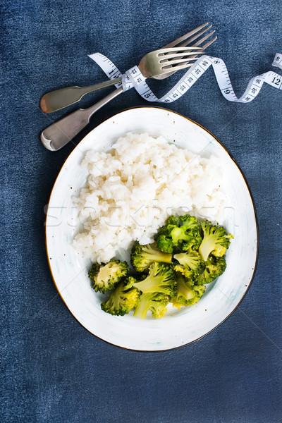 白 米 西蘭花 盤 飲食 商業照片 © tycoon