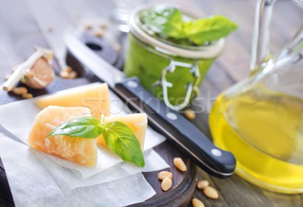 Foto d'archivio: Ingredienti · pesto · alimentare · vetro · cucina · banca