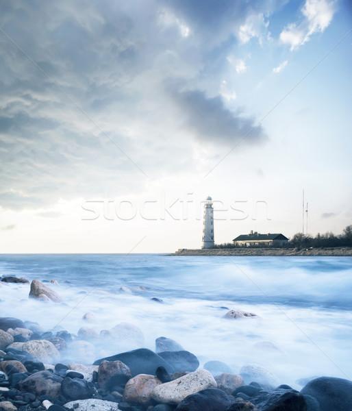Маяк пляж небе солнце свет морем Сток-фото © tycoon