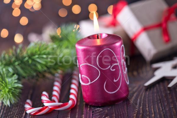 Noel dekorasyon mum ağaç soyut ışık Stok fotoğraf © tycoon